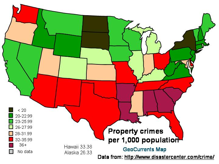 Mapping Honesty And Property Crime Languages Of The World - Crime rate per 1000 us map