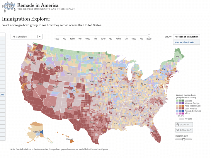 "New York Times ""Immigration Explorer"" Interactive Map"