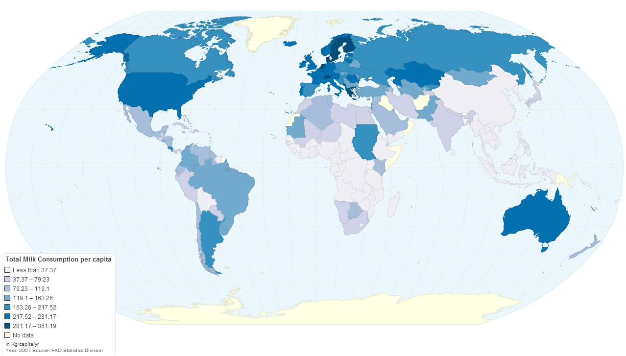 Global Geography of Milk Consumption and Lactose (In)Tolerance