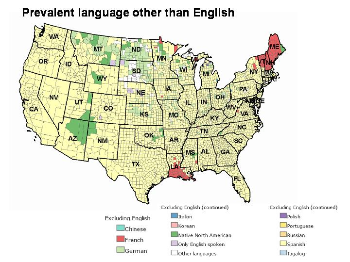 """The Problematic Map of the """"Second Most-Spoken Languages ... on linguistic map of france, linguistic map of central america, us map and tahiti, linguistic map of el salvador, linguistic map of puerto rico, difference between fiji and tahiti,"""